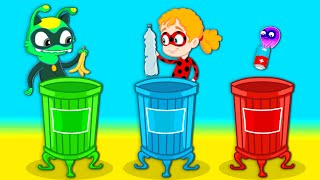Groovy The Martian - Learn the colors recycling! Educational cartoons for kids and nursery rhymes!