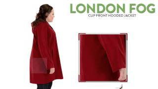 London Fog Clip Front Hooded Jacket (For Plus Size Women)