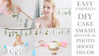 DIY easy & simple 5-minutes Floral Botanical Cake Smash Photoshoot decor