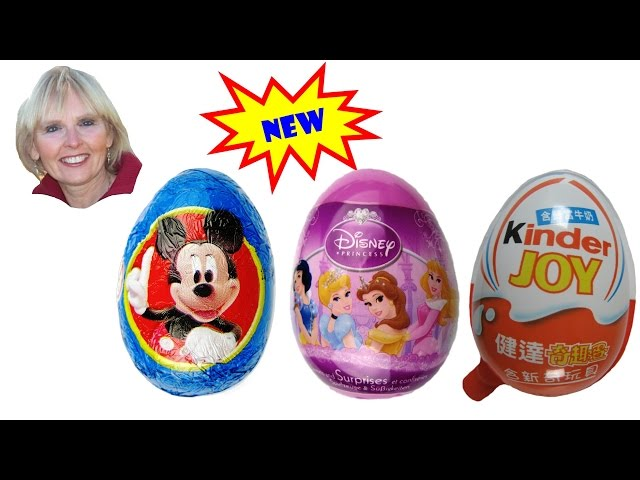 ♥♥  5 Surprise Eggs: Snow White, Mickey Mouse, Kinder, Spiderman, and Moshi Monsters