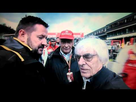 Bernie Ecclestone pushes camera away. Belgium Grand Prix 2014