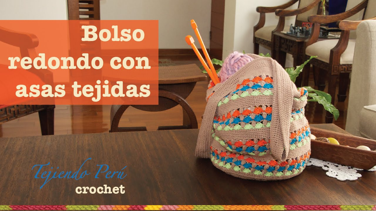 Bolso redondo tejido a crochet muy f cil youtube - Como hacer bolsos tejidos ...