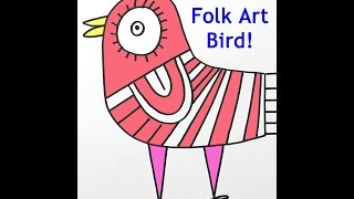 How To Draw A Cute Cartoon Bird Easy Art Lesson For Kids