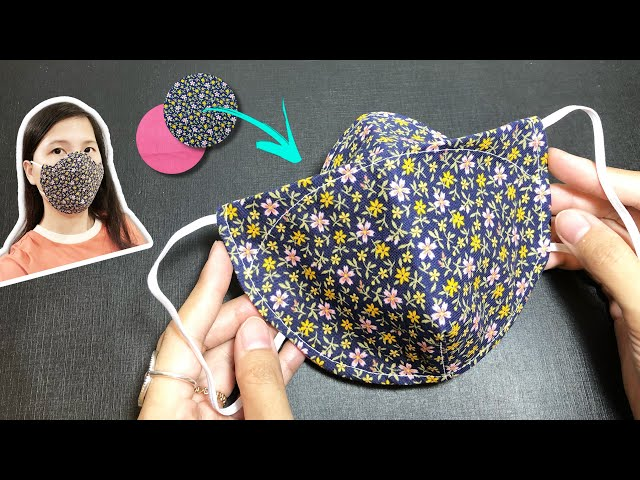 New design - NO FOG ON GLASSES - Very quick & easy 3D face mask sewing tutorial circle template