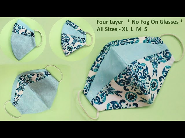 New 🔥 No Fog on Glasses - 4 Layer Face Mask Sewing Tutorial | How to Make Face Mask Cloth- All Sizes