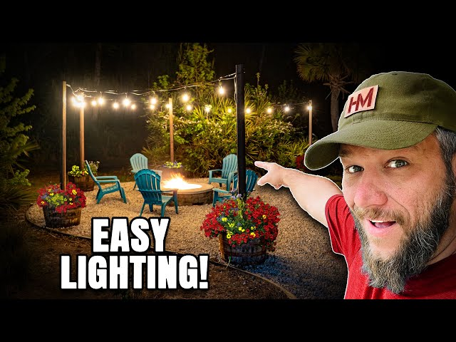 Hanging String Lights Around My Fire Pit! I Used Whiskey Barrel Planters