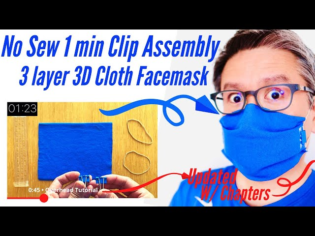 1+ Minute Clip Assembly No Sew 3D Filter Pocket Face Mask #Masks4all