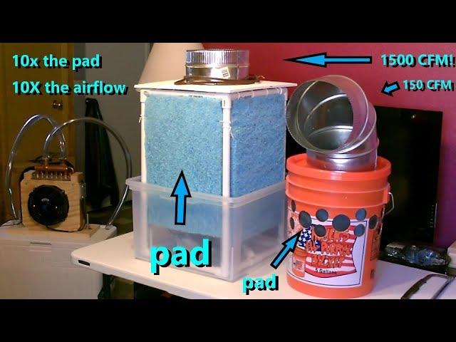 DIY Evap Air Cooler! Best Yet! 1500CFM/20MPH (90Fin/64Fout) 500-1000 Sq.ft. run AC/DC/Solar/Batt