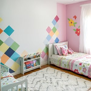 How To Paint A Geometric Colorful Accent Wall For A Kids Room Youtube