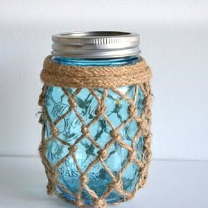 Nautical Inspired Fishnet Mason Jar Tutorial Youtube