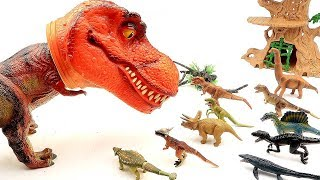Dinosaur Eat 10 Little Dinosaurs! Giant T Rex Head Dinosaur |Jurass...