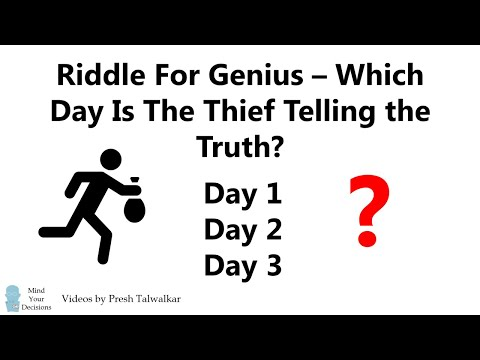 Riddle For Genius - When Does The Thief Tell The Truth? - YouTube