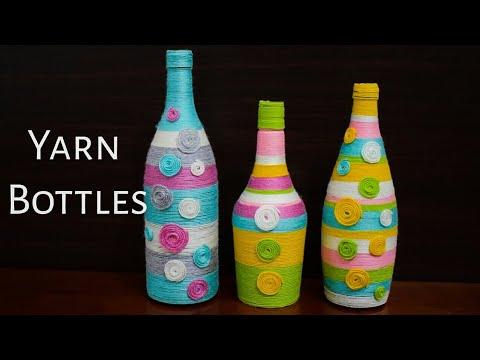 Yarn Wrapped Bottles | Waste Bottle Craft Idea | Wine bottle Decor | Flower Vase Ideas | Home Decor