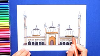 How to draw and color Jama Masjid, New Delhi