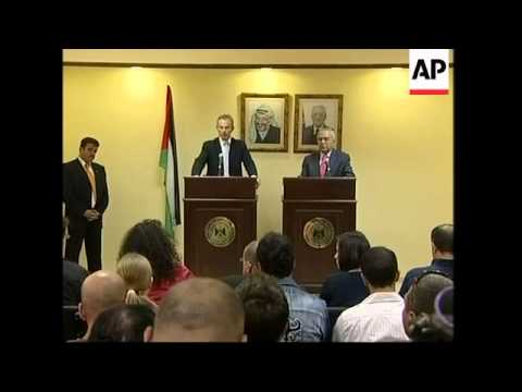 Quartet envoy Blair with Palestinian PM, comments