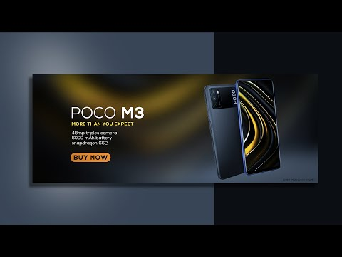 POCO M3 advertising design in Adobe Photoshop CC - Photoshop Tutorials