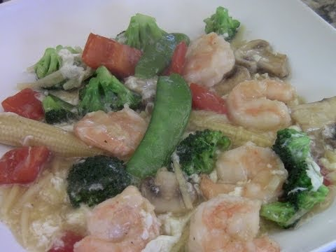Shrimp With Mix Vegetables In White Sauce