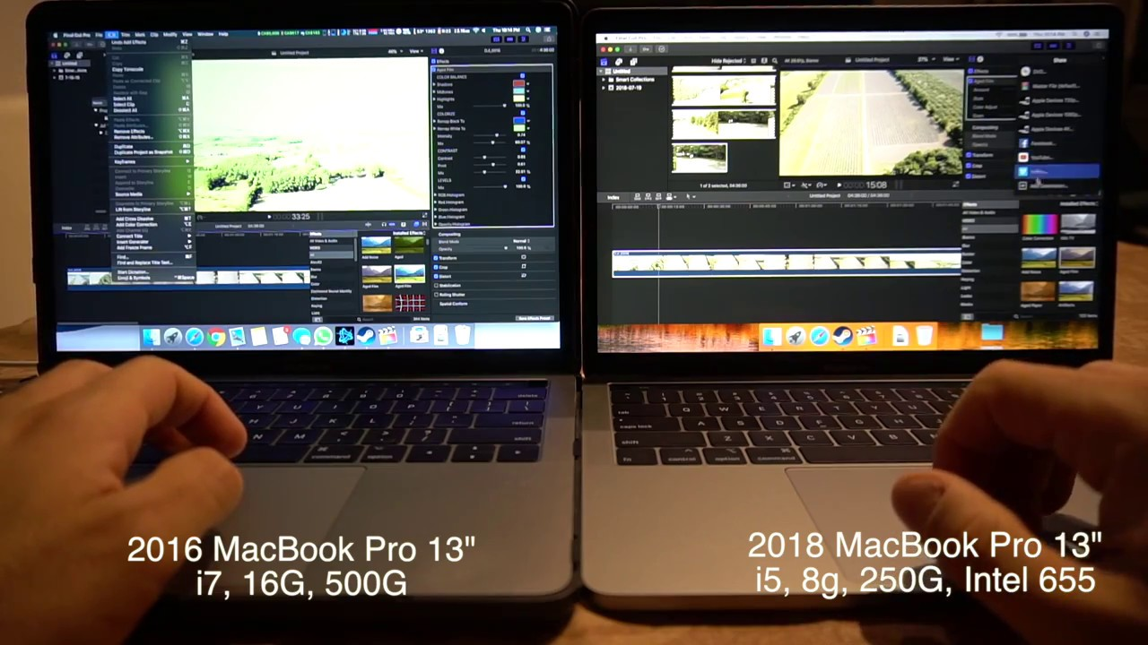 Final Cut Pro Fcpx On 2018 Macbook Pro 13 I5 Vs 2016 Macbook Pro