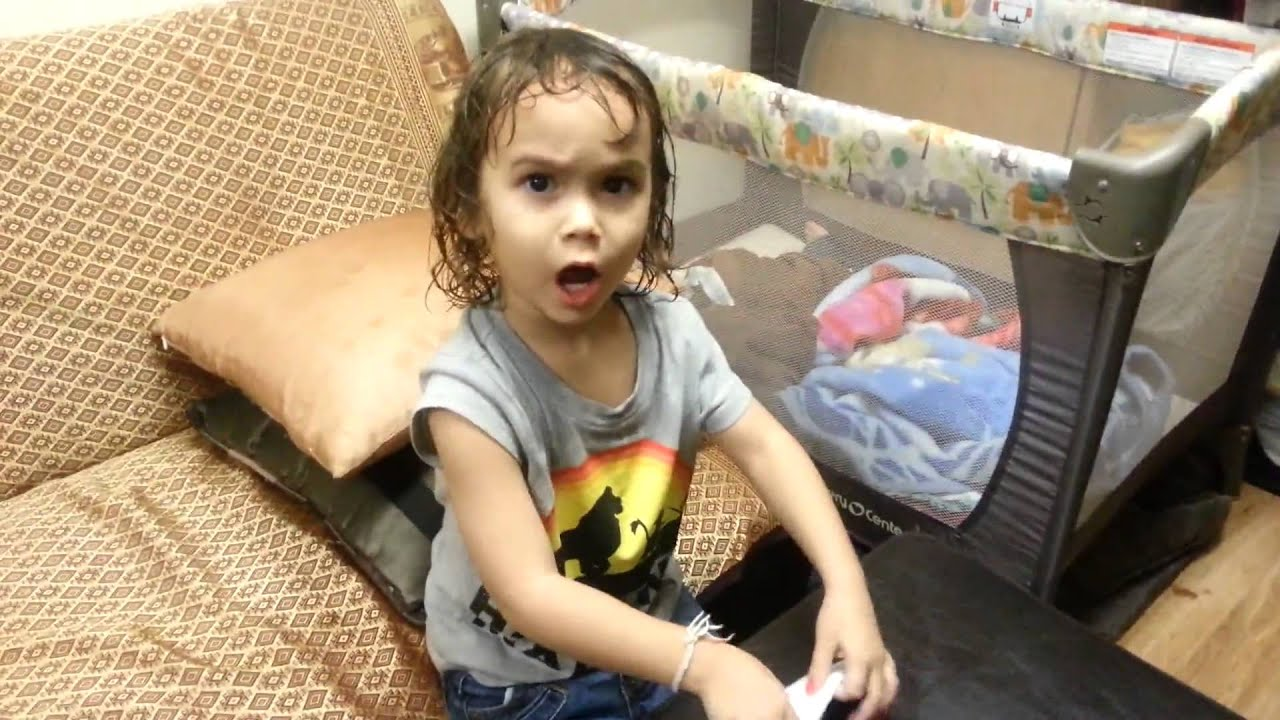 Adorable girl has unique way of washing her hair