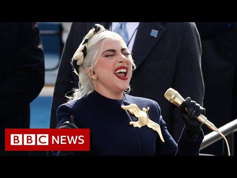 Biden inauguration: Lady Gaga sings the National Anthem - BBC News