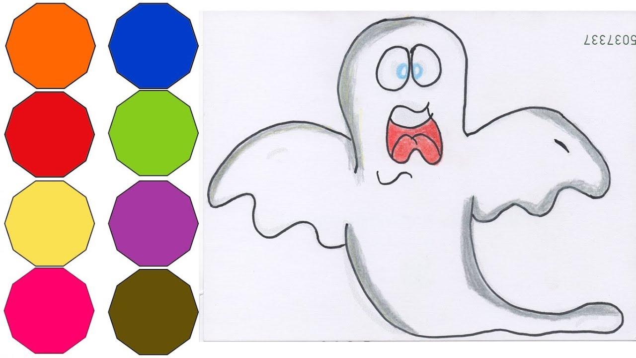 Como Dibujar Y Pintar Un Fantasma Fácil Dibujos Para Niños How To Draw Ghost