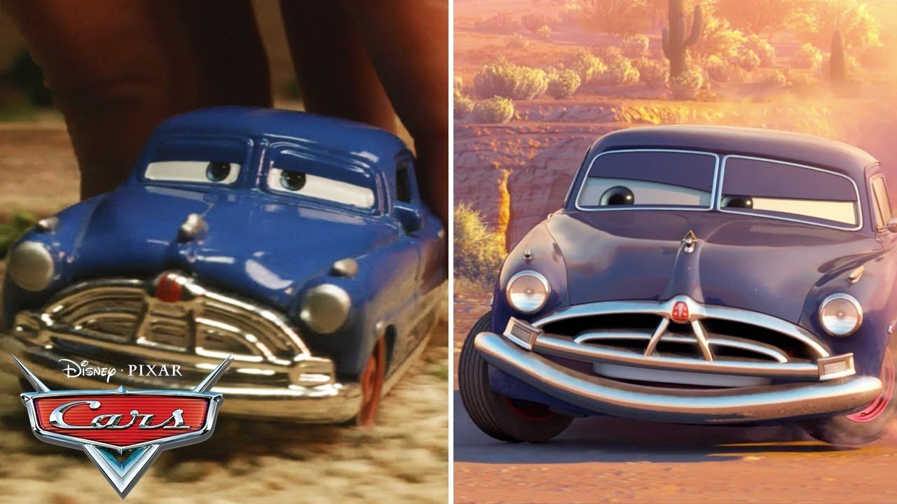 Doc Hudson Races around Willy's Butte   SIDE BY SIDE Toy Play   Pixar Cars