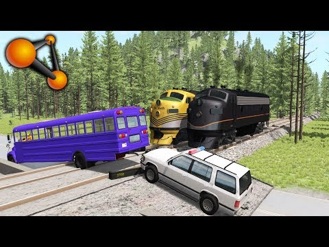 Stuck At Rails (train Railroad Crossing Crashes) #4 - BeamNG.Drive