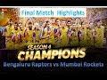 pbl 2019 Final match| Bengaluru raptors vs mumbai rockets|pbl Season4