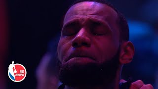 LeBron James emotional during National Anthem performed by Boyz II Men | Remembering Kobe