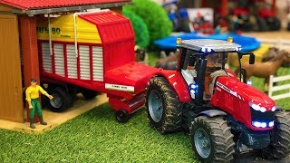 Amazing Tractor with Jumbo Trailer Farming Action! Bruder Toys for Kids!