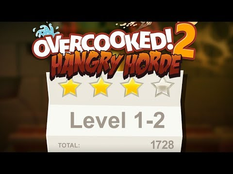 Overcooked 2. Night of the Hangry Horde. Level 1-2. 4 stars. Co-op |