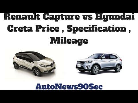 Renault Capture vs Hyundai Creta Price , Specfication , Mileage Comparison