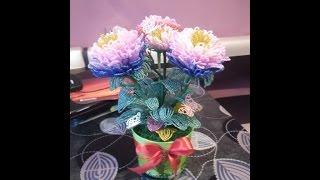 хризантема из бисера урок  3