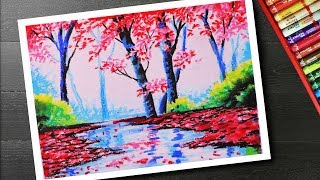 How to draw Spring season landscape drawing and painting with cherry blossom tree step by step