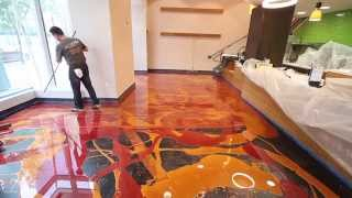 Learn to install metallic epoxy - Orange Gold & Wine Red