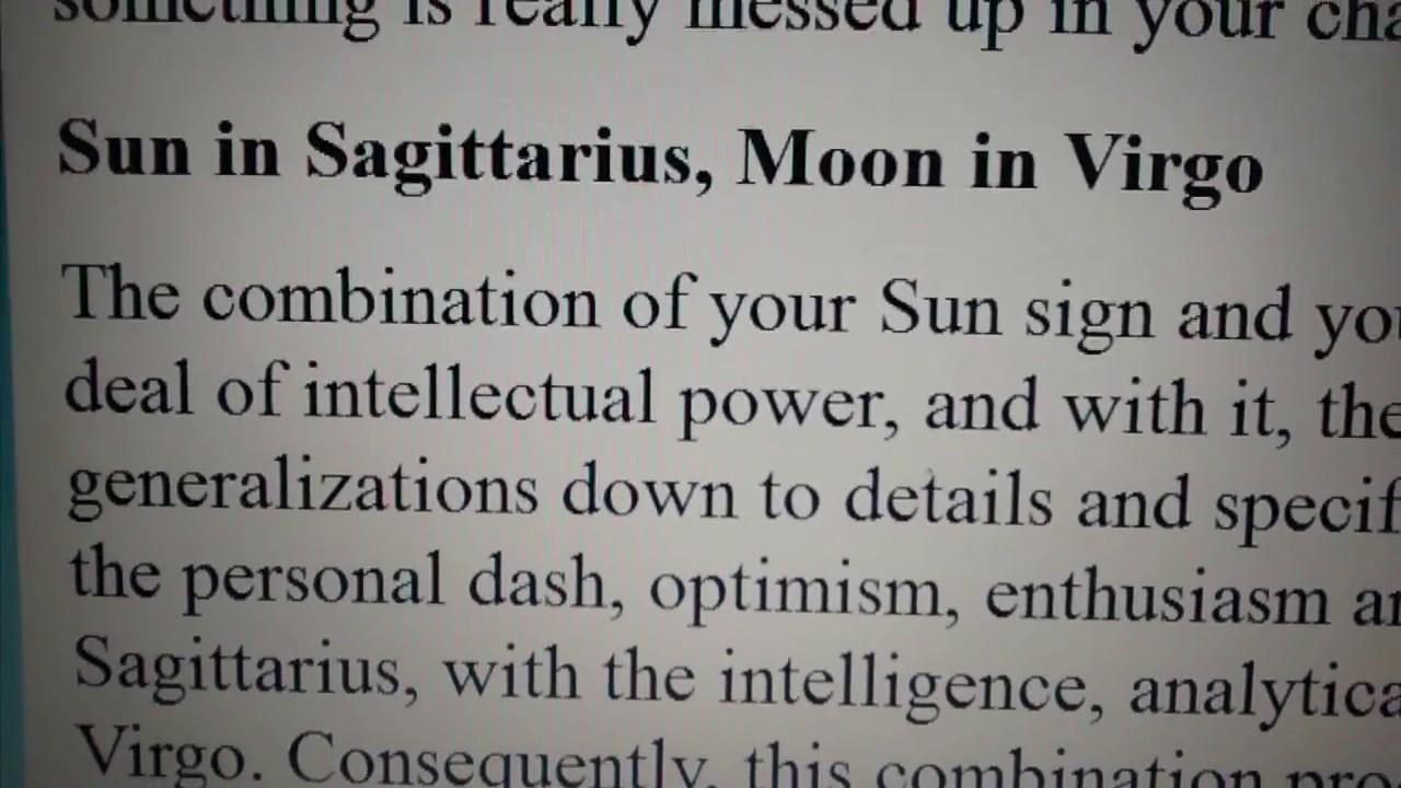 Sun in Sagittarius with Moon in Virgo