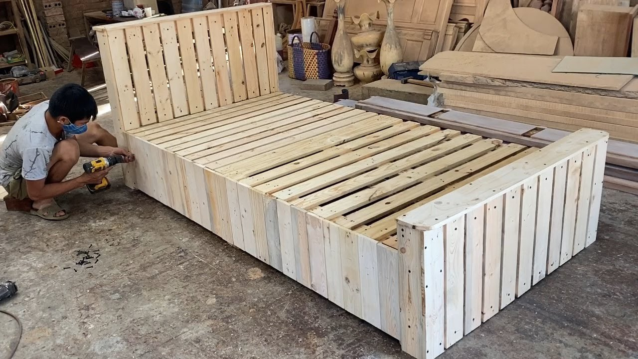 Woodworking Products Cheap - Build A Extremely Simple And Beautiful Single Bed From Wooden pallets