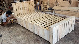 Woodworking Products Cheap  Build A Extremely Simple And Beautiful Single Bed From Wooden pallets
