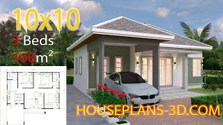 Interior House Design Plans 10x10 with 3 Bedrooms Full Plans