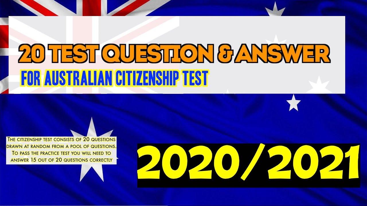 Australian Citizenship Test 2020/2021 (OFFICIAL 20 TEST ...