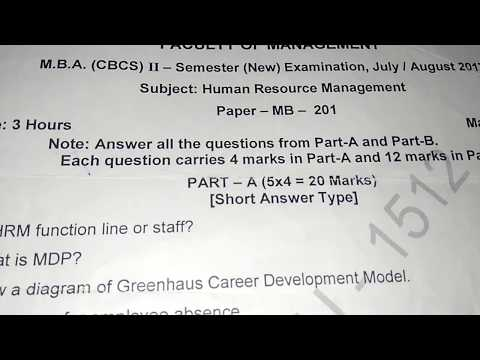 OU MBA SEM 2 HUMAN RESOURCE MANAGEMENT QUESTION PAPER 2017 - YouTube