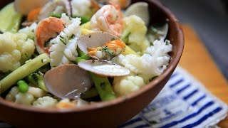 【蘿潔塔的廚房】一桌三菜,減醣、 輕食好健康。涼拌海鮮、 蒜炒黃豆芽、 涼拌菠菜。