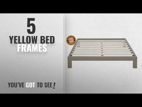 Top 10 Yellow Bed Frames [2018]: Stella Metal Platform Bed Frame - Modern, Finish - Thick and Wide
