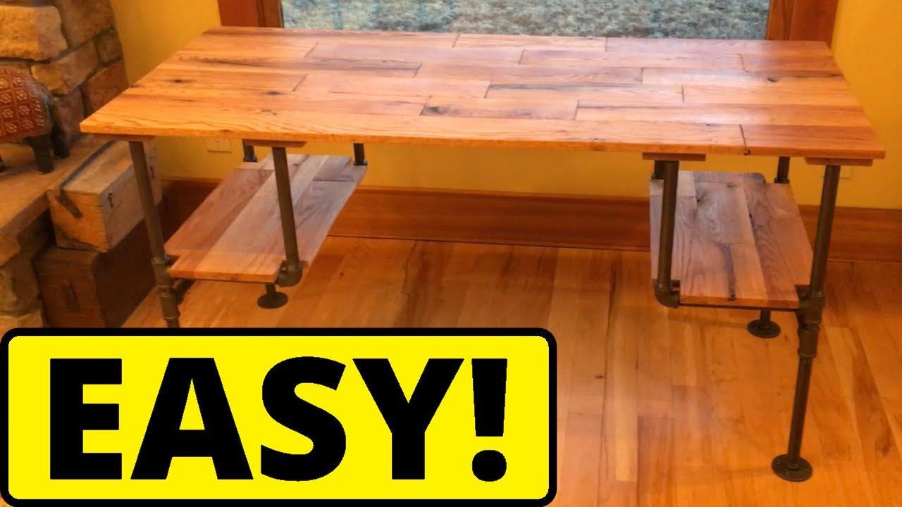 DIY Black Iron Pipe Desk - YouTube