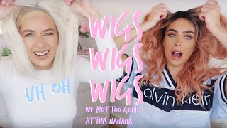 TRYING ON WIGS FOR THE FIRST TIME!!! |  Sophia and Cinzia