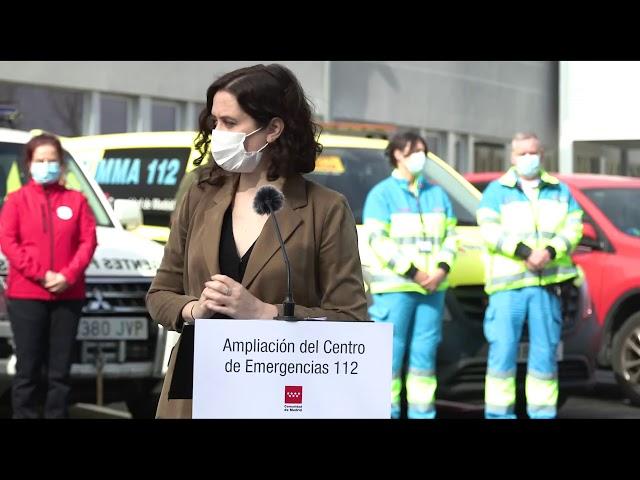 Díaz Ayuso ensalza labor de elite Emergencias 112 y Bomberos