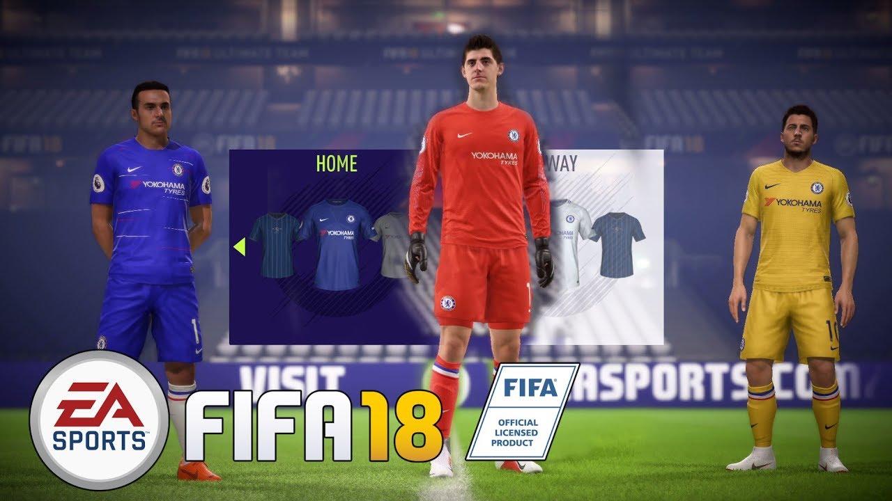 best service 34fb0 b31f0 FIFA 18 KITS HOME   AWAY   GK CHELSEA 2019