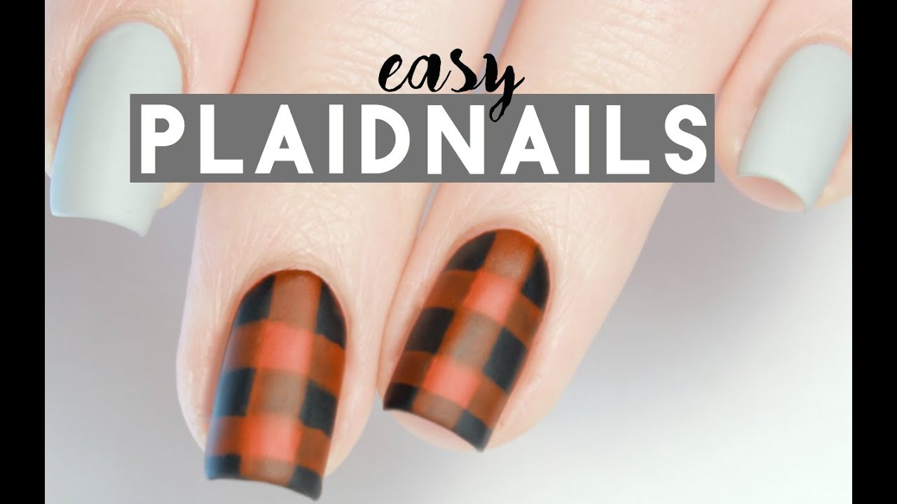 Easy Plaid Nails In One Minute Youtube