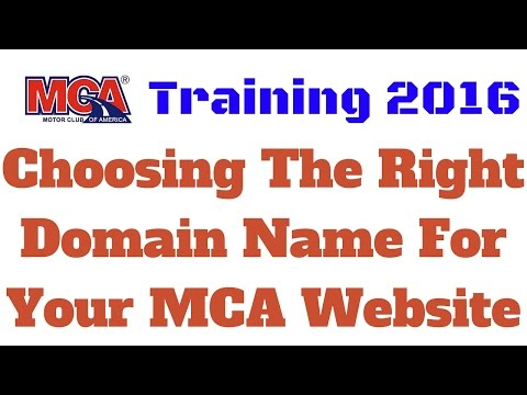 MCA Training 2016 | Choosing The Right Domain Name For Your MCA Website