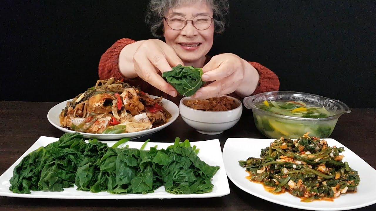 요리+먹방) 할머니 시골밥상 먹방, 호박잎쌈, 강된장, 시래기 코다리찜, 상추나물, 얼갈이물김치 [손맛할머니]